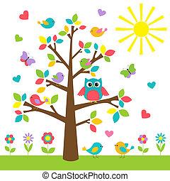 barwny, drzewo, z, sprytny, sowa, i, ptaszki