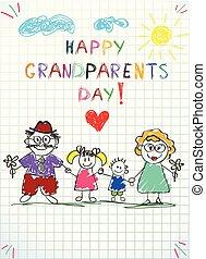 barwny, dziadkowie, ilustracja, ręka, pociągnięty, dzieci, dzień