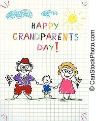 barwny, dzieci, powitanie, ręka, wektor, razem., wnuk, babunia, pociągnięty, dziadunio, karta