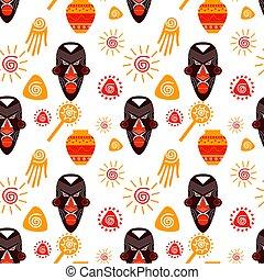 barwny, etniczny, seamless, próbka, maski, afrykanin