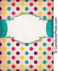 barwny, etykieta, kropka, textured, projektować, polka