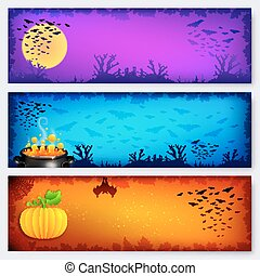 barwny, halloween, chorągwie, tła, komplet