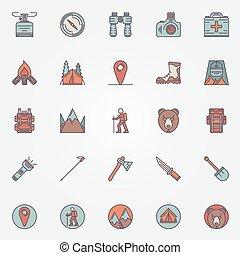 barwny, hiking, ikony