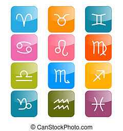 barwny, horoskop, symbolika, wektor, prostokąt, zodiak