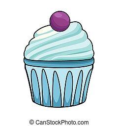 barwny, ikona, słodki, cupcake, projektować