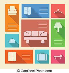 barwny, ikony, tekst, hotel, wektor, miejsce