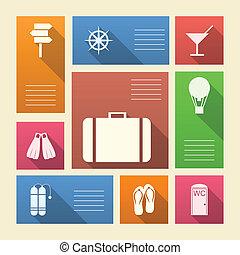 barwny, ikony, tekst, urlop, wektor, miejsce