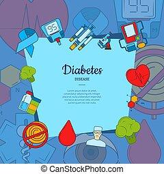 barwny, ikony, tekst, wektor, miejsce, tło, cukrzyca