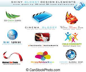 barwny, ikony, zbiór, element, 2d, projektować, błyszczący, 3d
