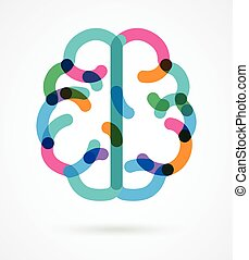 barwny, ilustracja, -, mózg, wektor