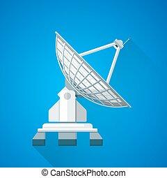 barwny, ilustracja, półmisek, satelita, antena, uplink