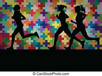 barwny, ilustracja, sylwetka, krajobraz, tło, czynny, biegacze, maraton