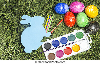 barwny, jaja, grass., akwarele, królik, karta, markiery