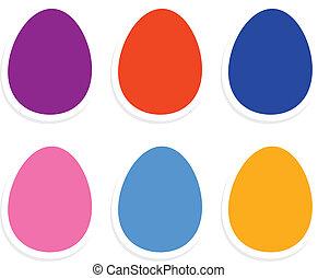 barwny, jaja, odizolowany, zbiór, biały, wielkanoc