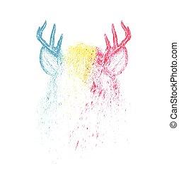 barwny, jeleń, ilustracja, malować, wektor, projektować