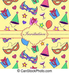 barwny, karta, zaproszenie