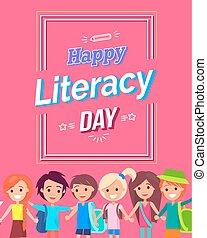 barwny, kartka pocztowa, jasny, szczęśliwy, dzień, umiejętność czytania i pisania