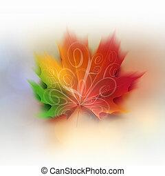 barwny, klonowy liść