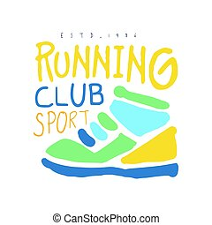 barwny, klub, cport, symbol., ilustracja, ręka, wyścigi, logo, pociągnięty