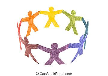 barwny, koło, ludzie