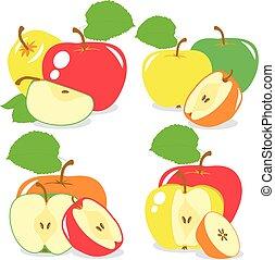 barwny, kromki, zbiór, wektor, jabłka, tło, ilustracje, przeźroczysty