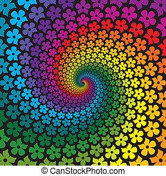 barwny, kwiat, spirala, tło