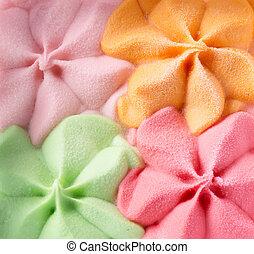 barwny, lód, tło., smaki, różny, śmietanka