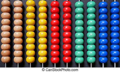 barwny, liczydło, dla, matematyka, odliczający, nauka