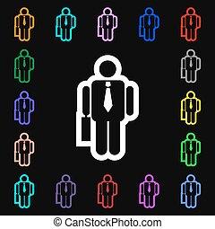 barwny, losy, poznaczcie., symbolika, wektor, biznesmen, ikona, twój, design.