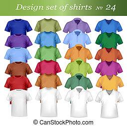 barwny, mężczyźni, polo, i, t-shirts., pho