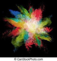 barwny, marznąć, ruch, czarne tło, kurz, wybuchy