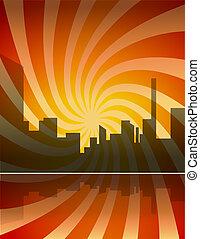 barwny, miasto, panorama