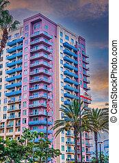 barwny, mieszkanie, przybrzeżny, kalifornia