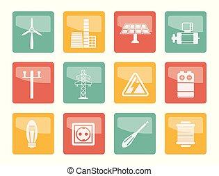 barwny, moc, ikony, elektryczność, na, tło
