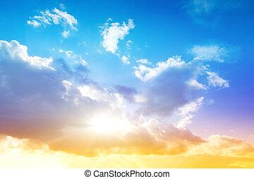 barwny, niebo, i, wschód słońca