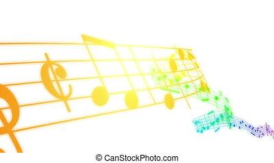 barwny, notatki, muzyka, hd., 3d., pętla