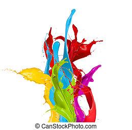 barwny, odizolowany, malować, plamy, tło, biały