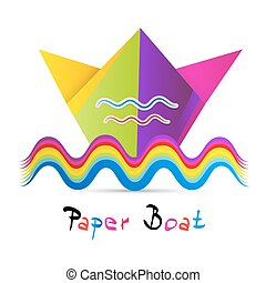 barwny, odizolowany, papier, tło, biały, łódka