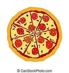 barwny, odizolowany, smakowity, biały, pizza, ikona