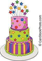 barwny, odizolowany, urodziny, tło, ciastko, biały