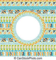 barwny, ozdoba, tło., wektor, mozaika, okrągły, ethnicity
