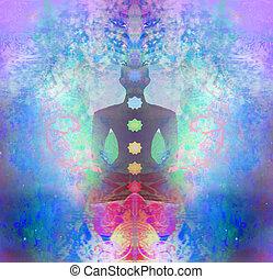 barwny, points., padmasana, pose., chakra, yoga, lotos