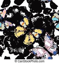 barwny, próbka, tapeta, seamless, ręka, motyle, kwiatowy, pociągnięty, kwiaty, wyryty