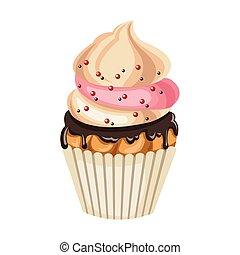 barwny, projektować, cupcake, ikona, słodki