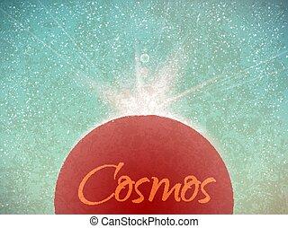 barwny, przestrzeń, claster., rocznik wina, gwiazdy, kolor, wektor, retro, tło, wszechświat, kosmos, style., zasłona, illustration.
