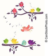 barwny, ptaszki, na, gałęzie