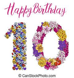 barwny, różny, szczęśliwy, alfabet, inscription., ilustracja, dziesięć, kwiatowy, cyfra, urodziny, robiony, flowers., element
