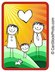 barwny, rodzina, ilustracja, szczęśliwy