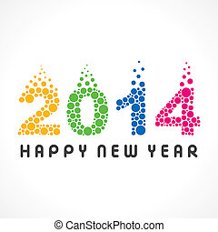 barwny, rok, nowy, 2014, bańka, szczęśliwy
