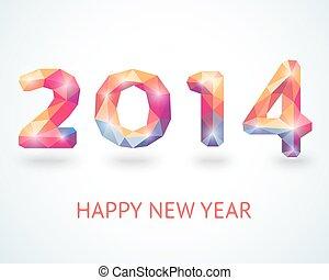 barwny, rok, powitanie, nowy, 2014, karta, szczęśliwy